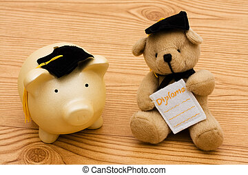 Education Savings - A piggy bank and a bear wearing...