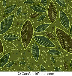Seamless green grunge floral pattern with leafs (From my big...
