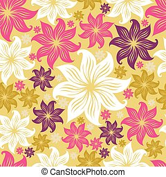 Seamless floral pattern with lilly - Seamless vintage grunge...