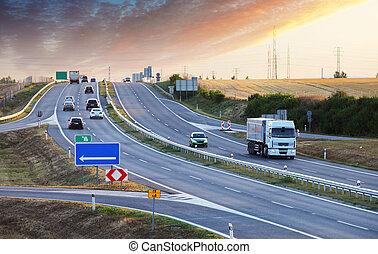Freeway at rush hour