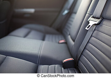 Modern car interior - rear seats with the seat belts