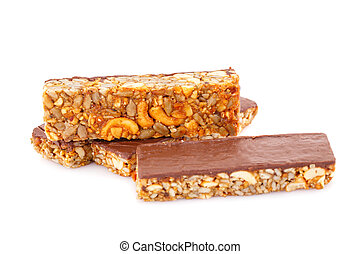 Muesli bars with different nuts and seeds isolated on white...