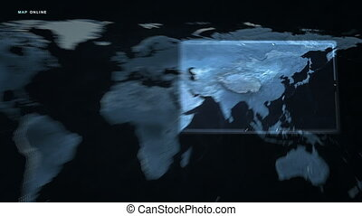 Digital Map Russia and Asia - A futuristic scan of the world...
