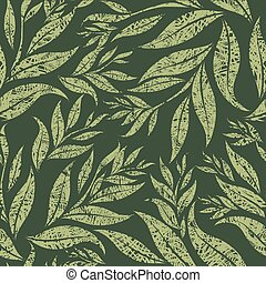 Seamless grunge floral pattern with leafs From my big...