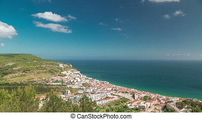 Aerial view on the coastal town of Sesimbra in Portugal timelapse