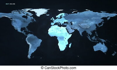 Digital Map Europe and Africa - A futuristic scan of the...