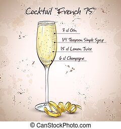Cocktail French 75, one of the most famous cocktails in the...