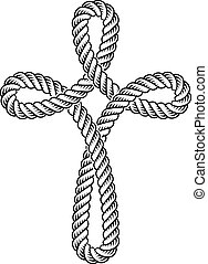 christian cross rope symbol - illustration for the web
