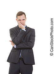 body language. man in business suit isolated on white...