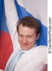 fanatic man with russian flag - happy fanatic businessman...