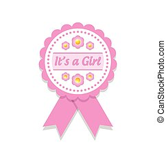 It's a girl badge - It's a girl rosette or badge on white...