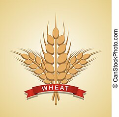 Bunch of wheat with ribbon on pale background