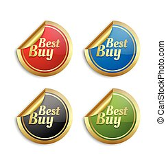Colorful best buy stickers - Set of golden colorful best buy...