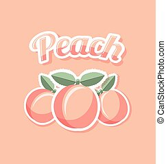 Retro peach with title on pink background