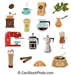 Coffe Retro Flat Icons Set - Vintage classic style coffee...