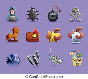 Malicious Software Icons Set - Icons set representing...