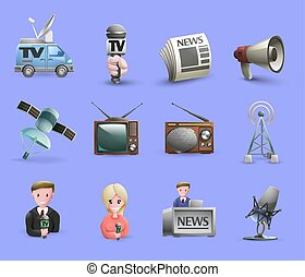 Mass Media Icons Set - Media icons set of news presenters...