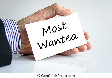 Most wanted text concept isolated over white background
