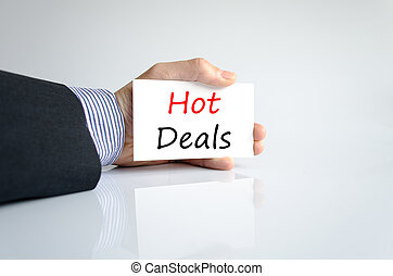 Hot deals text concept isolated over white background