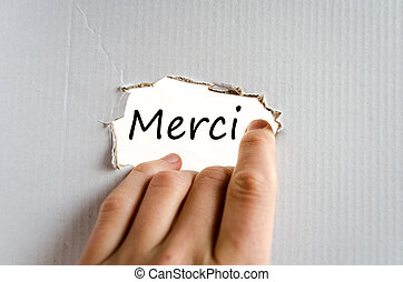 Merci text concept isolated over white background