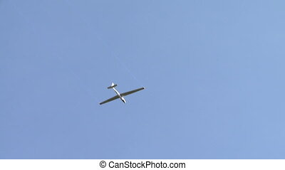 View of glider soar across the sky - View of sailplane soar...