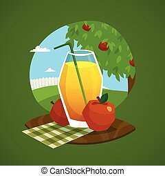 Glass Of Juice With Rural Landscape  Background