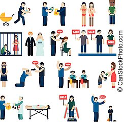 Human Trafficking Flat Icons Set - Human trafficking flat...