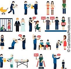 Human Trafficking Flat Icons Set - Human trafficking flat...