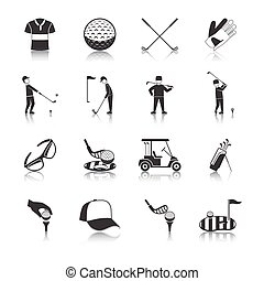 Golf Black White Icons Set - Golf black white icons set with...