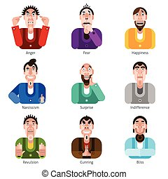Emotion icons set - Male characters with anger fear and...