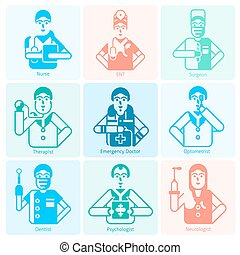 Doctor Icons Monochrome - Doctor specialities flat...