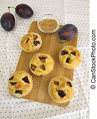 Small teacakes with plums