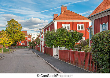 Autumn in Sweden - Red city during autumn in Norrkoping....