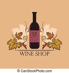 Hand drawn Wine label with bottle Winemaking concept