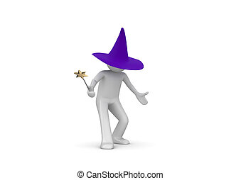 Wizard - 3d isolated characters on white background series