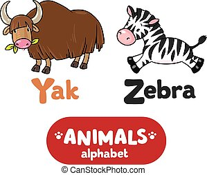 Animals alphabet or ABC - Children vector illustration of...