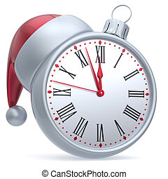 New Years Eve time Christmas ball alarm clock Santa hat...