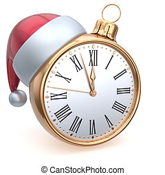 Christmas ball alarm clock New Years Eve time midnight hour...
