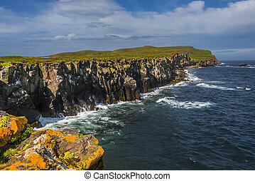 Beautiful seashore of Grimsey island nearby Iceland, summer...