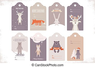 collection of 8 craft christmas gift tags with ccute animals