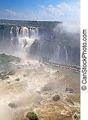 Iguazu falls - Famous Iguazu fallson the border between...
