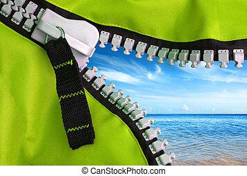 Green Zipper - Open zipper of a camping tent showing a...