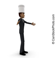 3d chef welcoming concept in white isolated background ,...