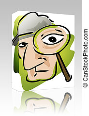 Private eye box package - Software package box Cartoon...