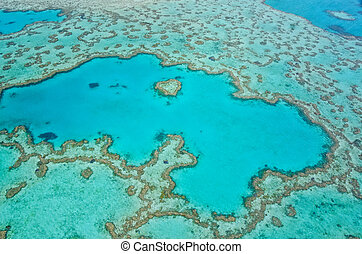 Great Barrier Reef - Aerial View - Whitsundays, Queensland,...