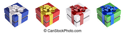 Colorful gift boxes, presents isolated 3d rendering