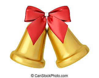Two golden bells with red bow isolated 3d rendering