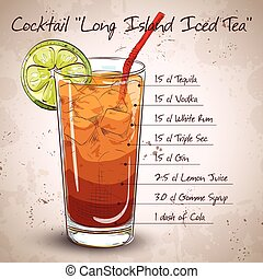 Cocktail Long Island Iced Tea Vodka, consisting of gin, rum...