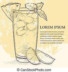Cocktail Mai Tai scetch with Light rum, dark rum, Orange...