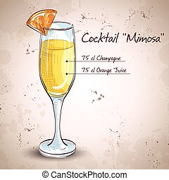 Cocktail alcohol Mimosa with Champagne, orange juice, orange